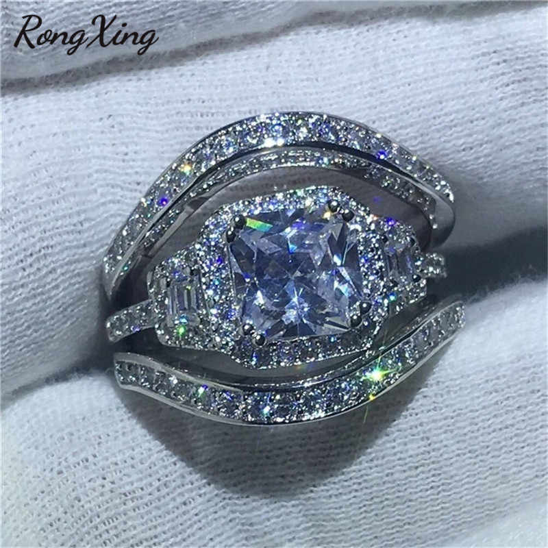 RongXing Female Fashion White Zircon Wedding Ring Sets 925 Silver Filled White Crystal Engagement Rings for Women CZ Stone Bands