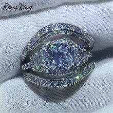 RongXing anillo de boda de circonita blanca de moda femenina 925 Anillos de Compromiso de cristal blanco rellenos de plata para mujeres CZ bandas de piedra