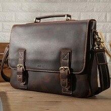 KAVIS Crazy Horse 100% Genuine Cowhide Leather Handbags Shoulder Bag Men Messenger Bag Travel Crossbody Bag Tote Bag Top Quality