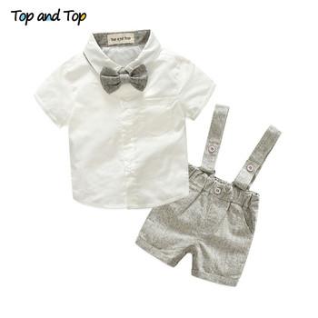 Zestaw ubranek dla chłopca w stylu letnim noworodek odzież 2 szt t-shirt z krótkim rękawem + szelki elegancki garnitur tanie i dobre opinie top and top Poliester COTTON Moda MANDARIN COLLAR Zestawy Pojedyncze piersi REGULAR Pasuje prawda na wymiar weź swój normalny rozmiar