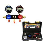 Elitech High tech Digital Pressure Gauge A/C Diagnostic Manifold Gauge Kit for UP to 37 Types of Refrigerant Testing and Monitor