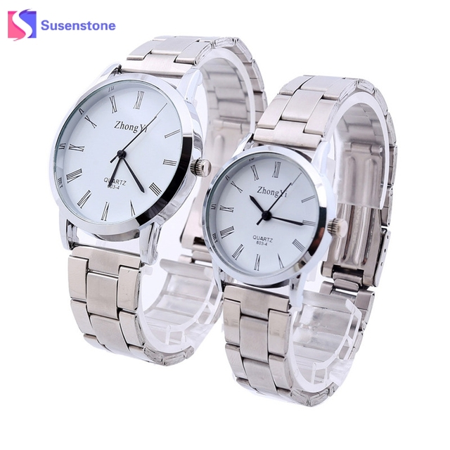 Fashion Men Women Couple Watch Silver Stainless Steel Analog Quartz Wrist Watch