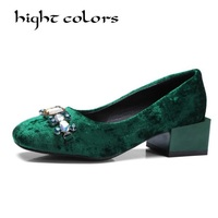 Big Size 34 43 Women Pumps Leisure Square Heels Slip on Elegant Shoes Woman Bead Square toe Pumps Female Footwear Ladies Shoes