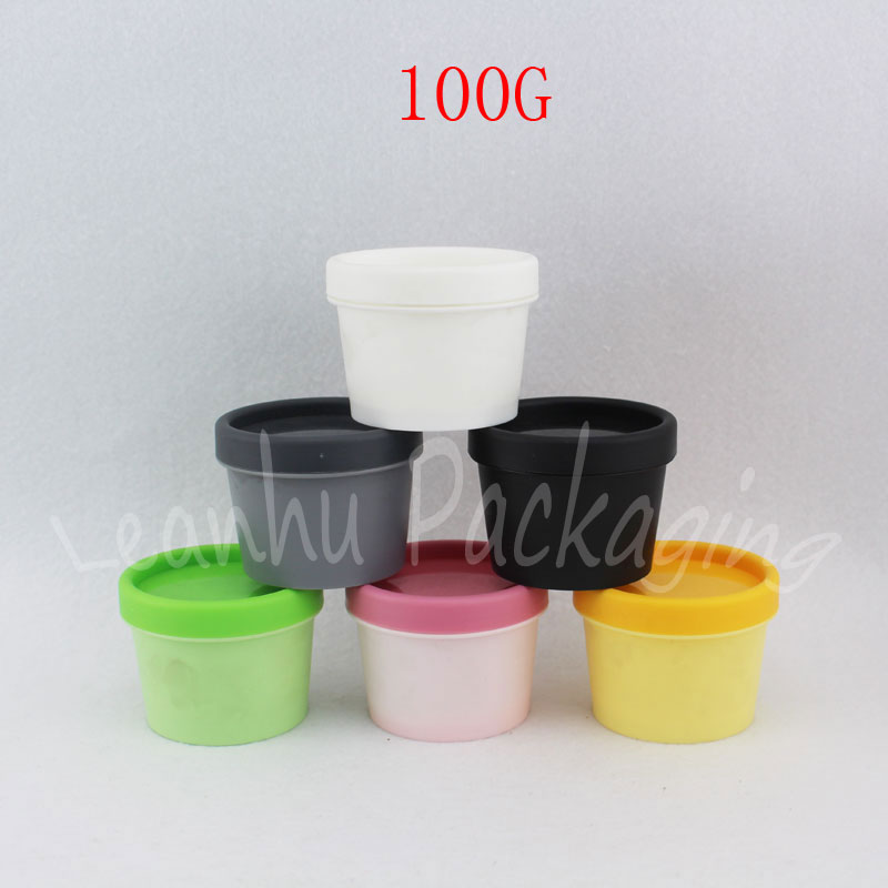 50 Wide Mouth Round Empty Plastic White Bottle Container With 50 Caps 100cc