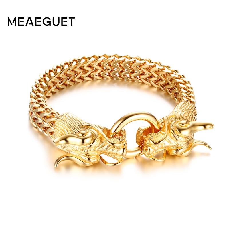 Bracelet à deux têtes de Dragon en acier inoxydable de haute qualité avec chaîne et bracelets pour hommes