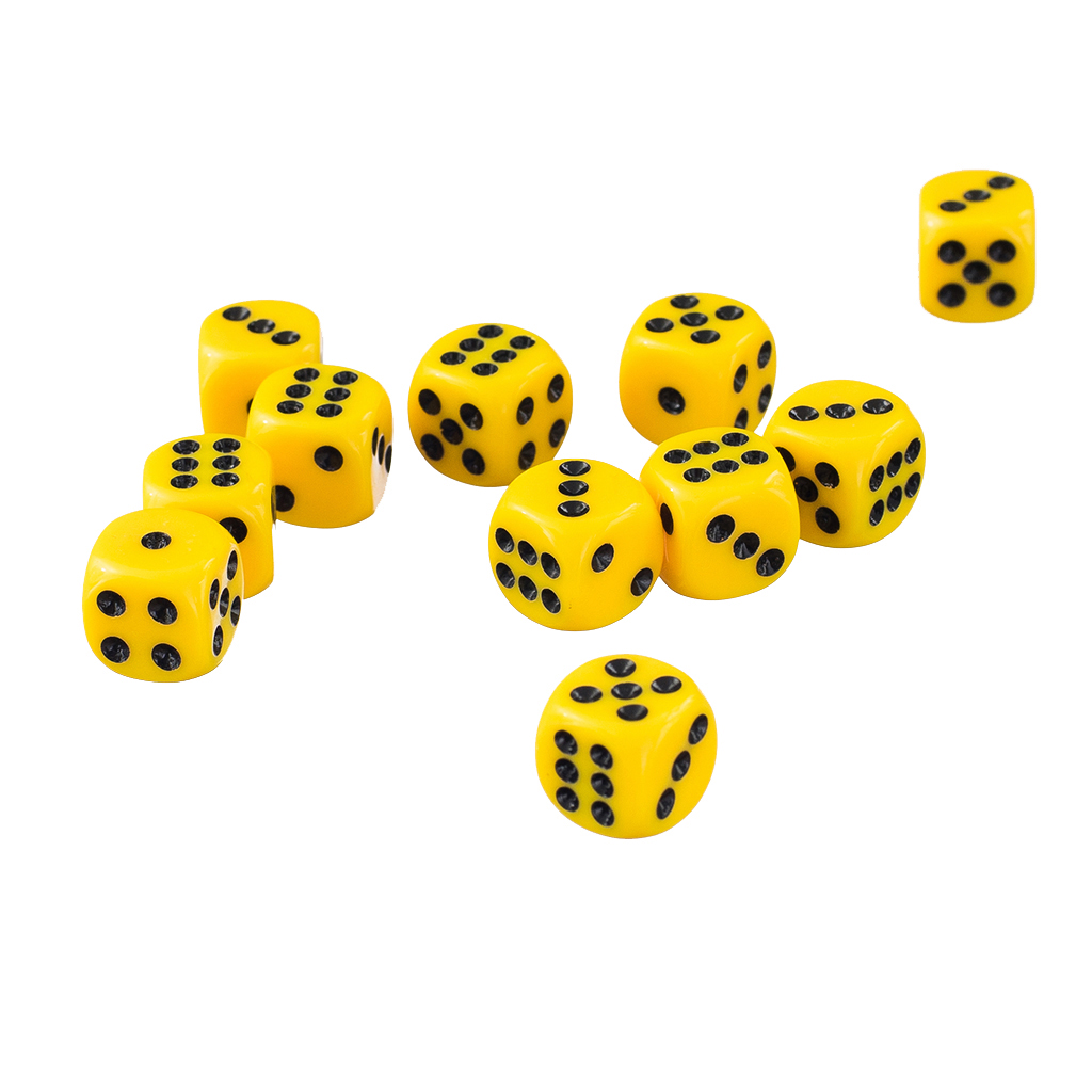 50pcs Yellow Opaque Six Sided Spot <font><b>Dice</b></font> Set <font><b>D6</b></font> RPG D&D NEW Role Playing <font><b>Dice</b></font> Games <font><b>12mm</b></font> image
