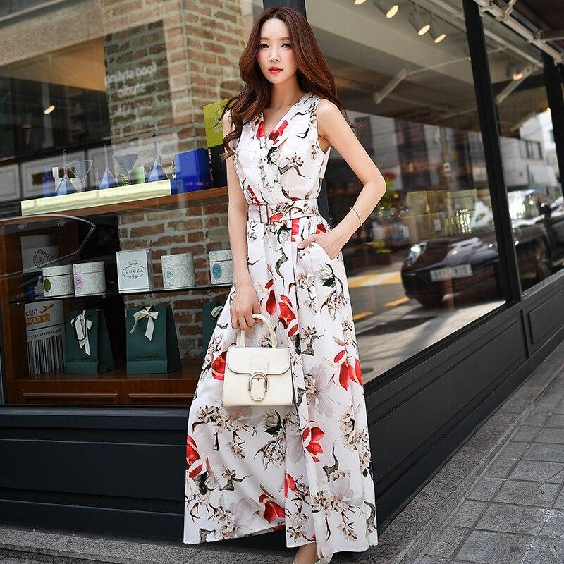 Original 2017 Brand Summer Big Sizes Elegant Casual Printed Jumpsuit Women