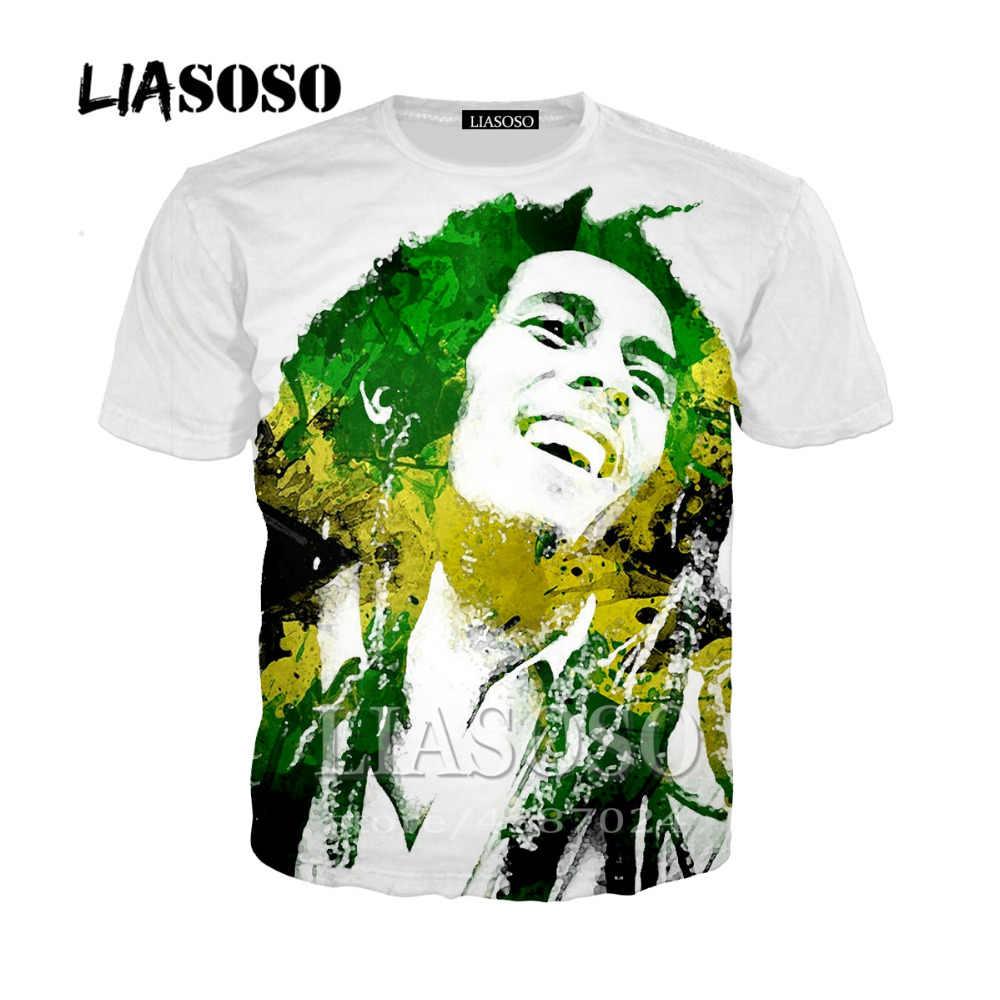 4b4d7589 LIASOSO Fashion 2019 3D Print t-shirt clothes Women Men Bob Marley Short  Sleeve t