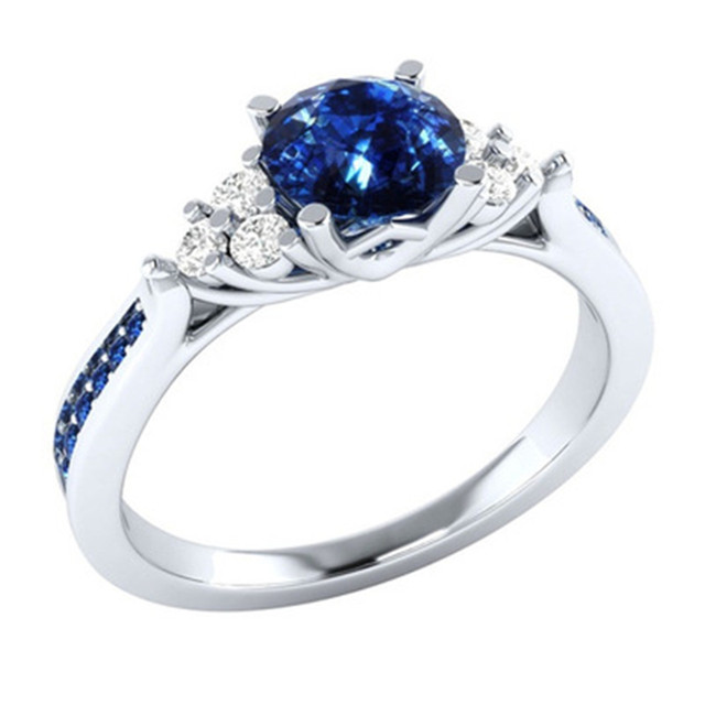 Blue CZ Zircon Stone Silver Ring for Women Promise Ring Fashion Jewelry