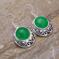 Hot sell Noble- whosale Round Green Jade 925 Sterling Silver Hook Vintage Earrings 5.29