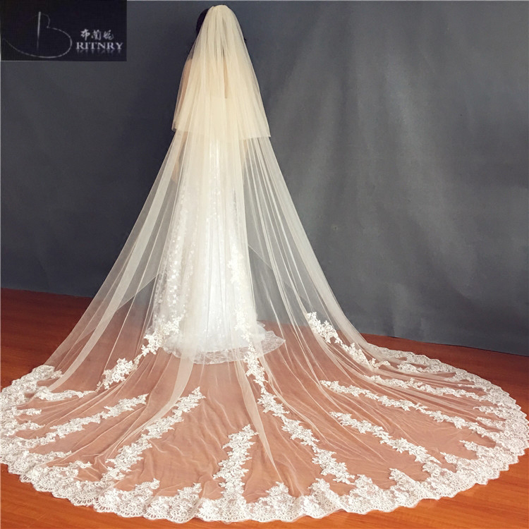 3Meter Light Champagne Ivory Cathedral Wedding Veils Long Lace Edge Bridal Veil with Comb Wedding Accessories