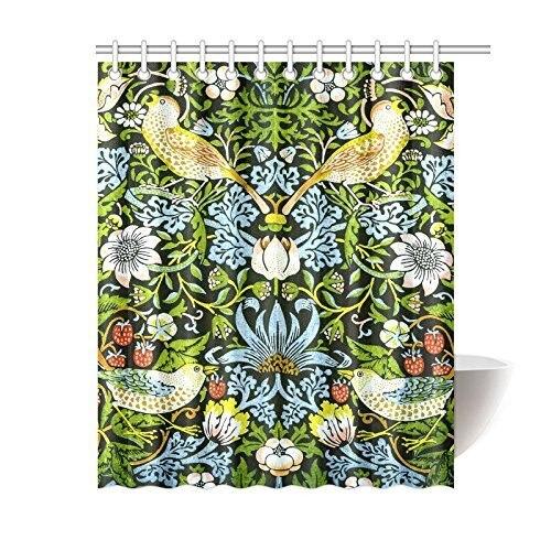 NANAZ Custom William Morris Strawberry Thief Vintage Floral Bathroom Waterproof Fabric 60x72 Inch Shower Curtain