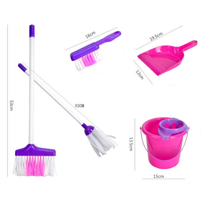 US $16 98 |Baby Role Play Toys Housekeeping Cleaning Play Set Pink  Broom/Mop/Bucket/Dustpan/Cleaning Brush Sweep Pretend Education Toys Kit-in