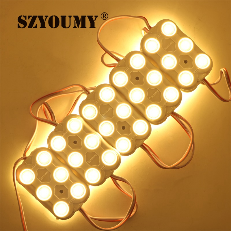 Hearty 100pcs 5730 Injection Led Module Dc12v 6 Leds 3w Waterproof Outdoor Light Backlight With Lens 160 Degree For Billboard At Any Cost Led Modules
