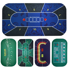 Купить с кэшбэком Texas Hold'em Poker Mat 1.2*0.6m blue flower pattern rubber gaming mat