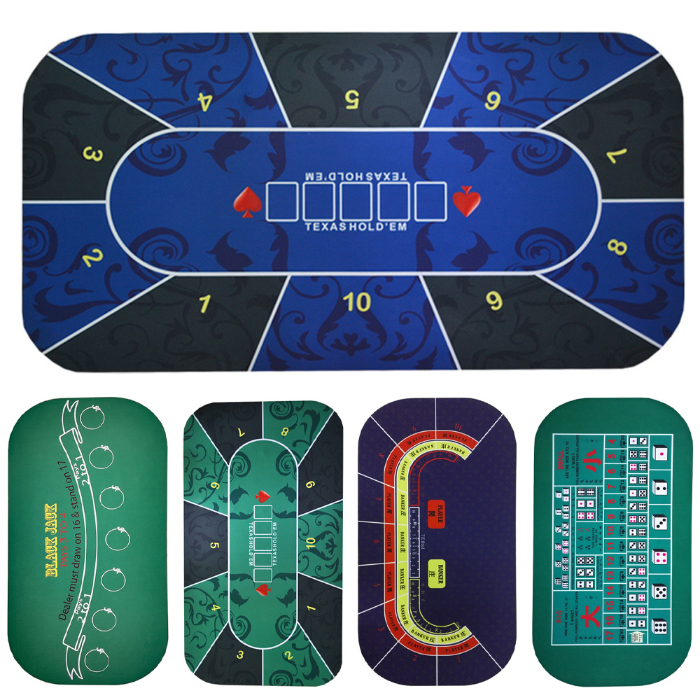 Texas Hold'em Poker Black Jack Baccarat dice Mat 1.2*0.6m Durable rubber Home gaming desk mat