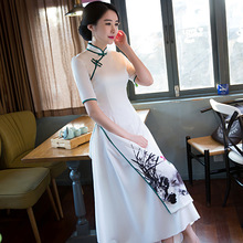 Nanao Dai Spring New National Wind Long Qipao Dress Improvement Restoring Cheongsams Elegant Printing Flowers White Dress S-XXL