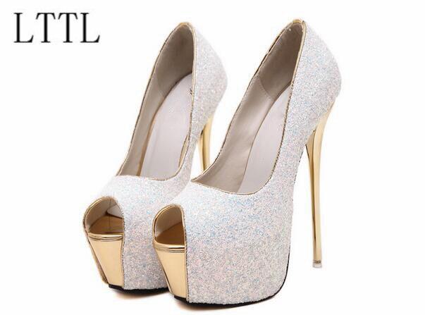 ФОТО 2017 white pink bling bling wedding shoes sexy peep toe 17 cm high heels pumps 6 cm platform shoes extreme high heels women