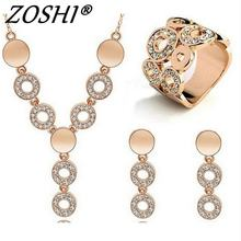 ZOSHI Hot Sale Fashion Women Jewelry Classy Sparking Crystal Necklace Wedding Gold/Silver Jewelry Set Woman Dress Accessories(China)