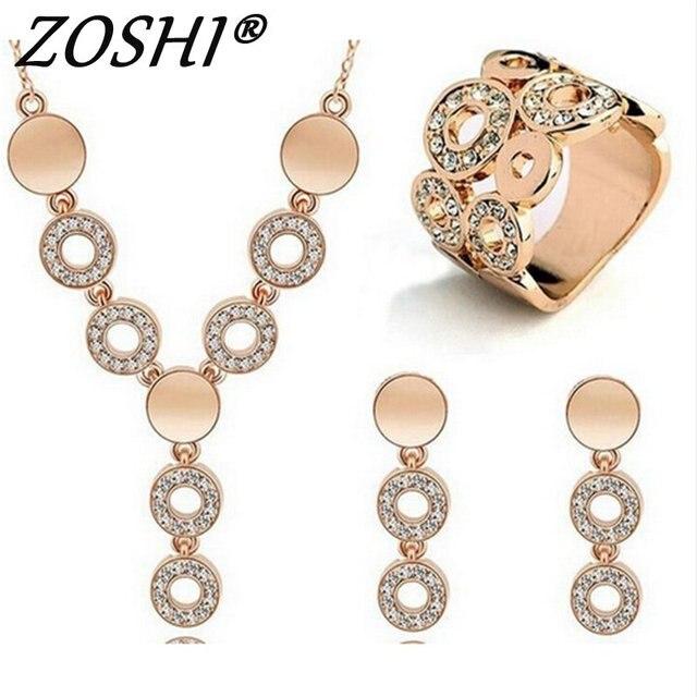 ZOSHI מכירה לוהטת אופנה נשים תכשיטי קלאסה וגרם קריסטל שרשרת חתונה זהב/כסף תכשיטי סט אישה שמלת אבזרים