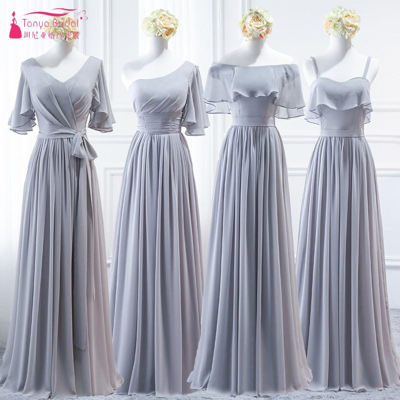 A B C D Styles A Line Long   Bridesmaid     Dresses   Grey Slivery Chiffon Cheap vestido longo Wedding Guest   Dress   Party Gown DQG437