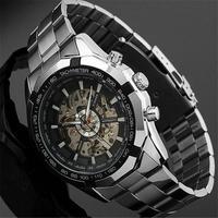 2017 Winner אופנה שלד Mens שעוני יוקרה מותג עליון ספורט גברים שעון שעון האוטומטי מכאניים שעונים Relogio Masculino