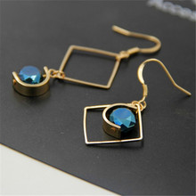 the United jewelry wholesale Creative minimalist design Transparent glass bead asymmetric long earrings Eardrop female