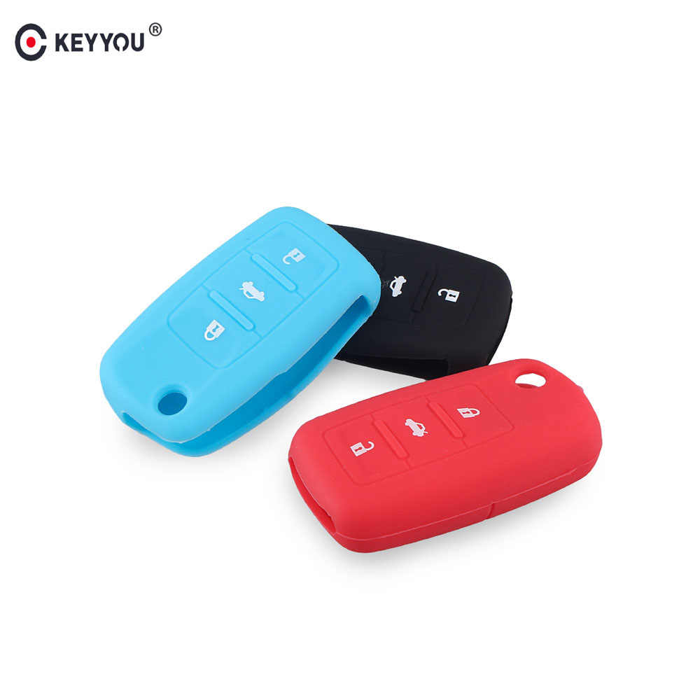 KEYYOU 3 Botões Chave Fob Silicone Case Capa Para VW VOLKSWAGEN Passat Golf Jetta Beetle Coelho MK4 MK5 5 R32 tampa da Chave do carro Auto