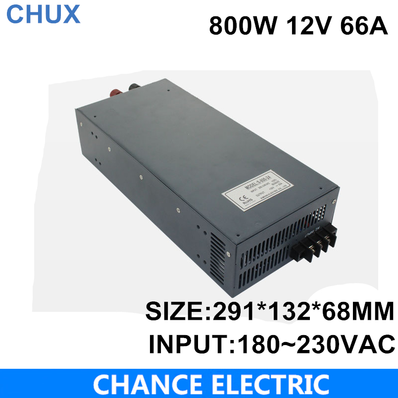 800w LED switching power supply 12V  66A 800W 110 or 220VAC single output input  for cnc cctv led light (S-800W-12V)