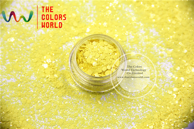 TCH301-H1 Yellow Colors Mixed Hexagon Shape Solvent resistant Glitter Sequins for nail art DIY decoration and Holiday decoration