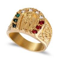 Vintage klassische idol ring edelstahl titan religiöse schmuck männer Buddhistischen ring (RI103094)