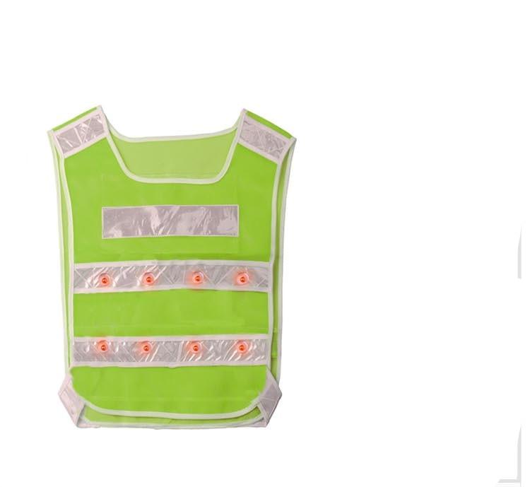 Safety Vest 16 led FLASHING RED LEDS LED GREEN ANSI Reflective Stripes цена
