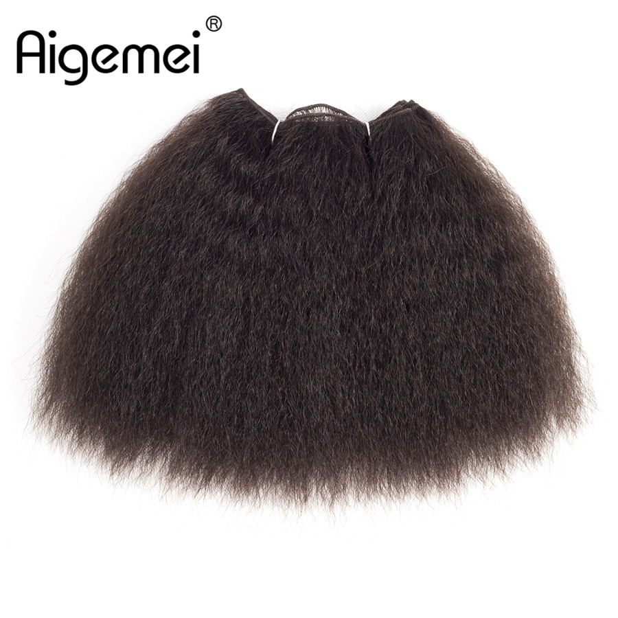 Aigemei Hair-Bundle Short Weaving Synthetic-Hair-Extension Pure-Hair-Wave Kinky Straight