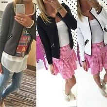 Women Long Sleeve jacket coat Lattice Tartan cardigan zipper Top veste femme manche longue Jacket Outwear