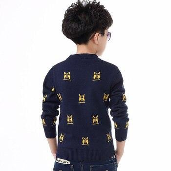 Zoe Saldana Boy's Knitwear 2017 New Autumn Winter Kids Thick Cartoon Owl Pattern Sweatshirts Casual Knitted O-neck Pullovers