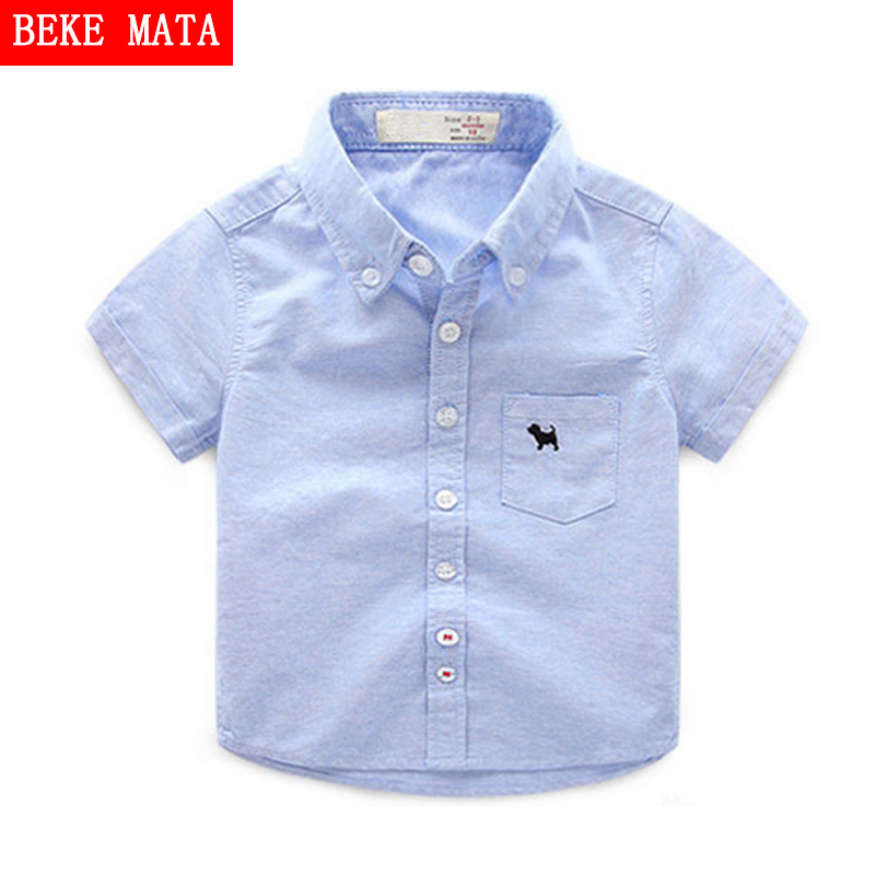 fd19cf2a0414 BEKE MATA Baby Boy Shirts For Children 2019 Summer Short Sleeve Shirts  Fashion Solid School Kids