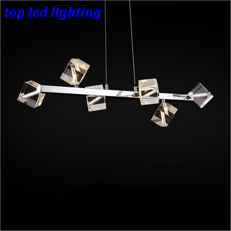 Modern Fashion Clear K9 Crystal 6 Heads Led Pendant Lights For Dining Room Bar Restaurant AC 80-265V 1169 modern fashion luxurious rectangle k9 crystal led e14 e12 6 heads pendant light for living room dining room bar deco 2239