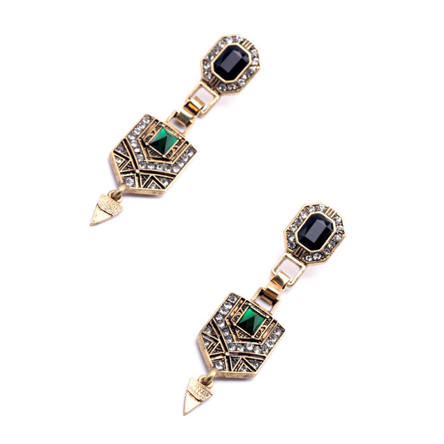 Vintage Style Green Crystal Drop Earrings for Women