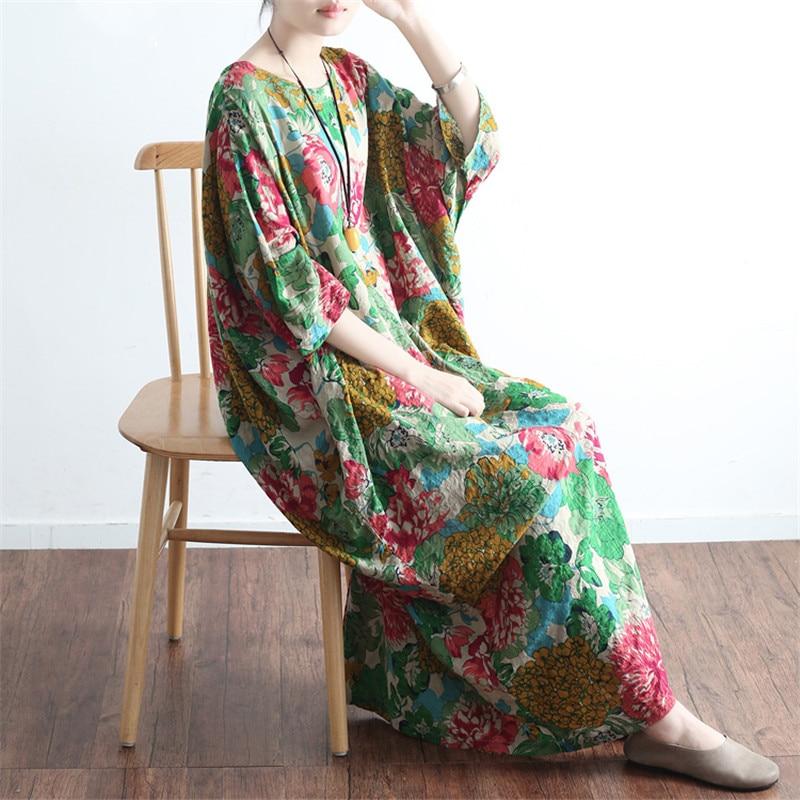SCUWLINEN Vestidos 2019 Ljetna haljina Vintage Ispis O-neck ogrtač - Ženska odjeća - Foto 1