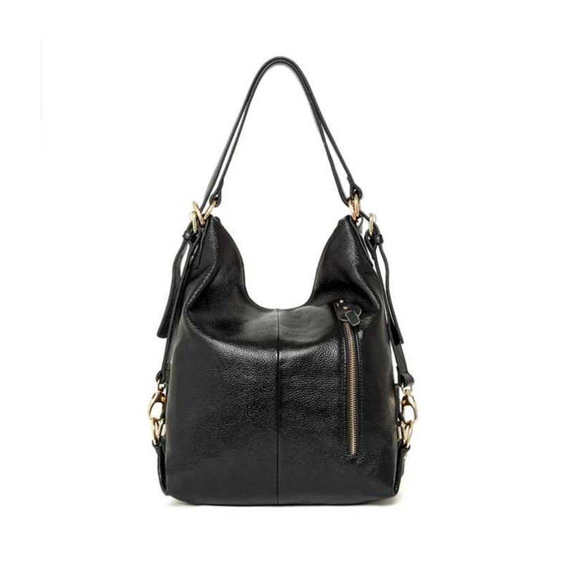 Black Backpack Bags Handbags Women S Shoulder Bag For Girl Cow Genuine Leather Female Bag Lady Black Zipper Bags