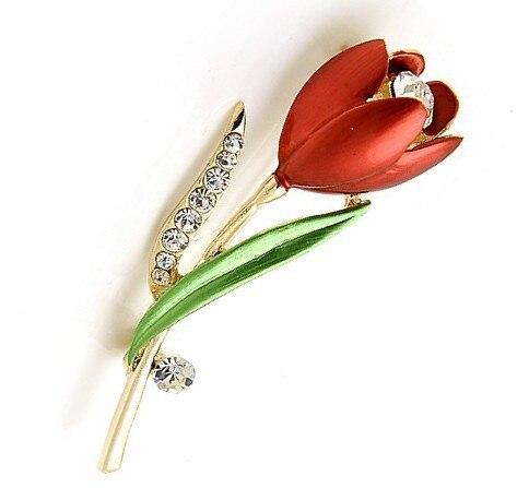 Oneckoha горный хрусталь тюльпан брошь Булавки эмалированные Булавки цветок брошь