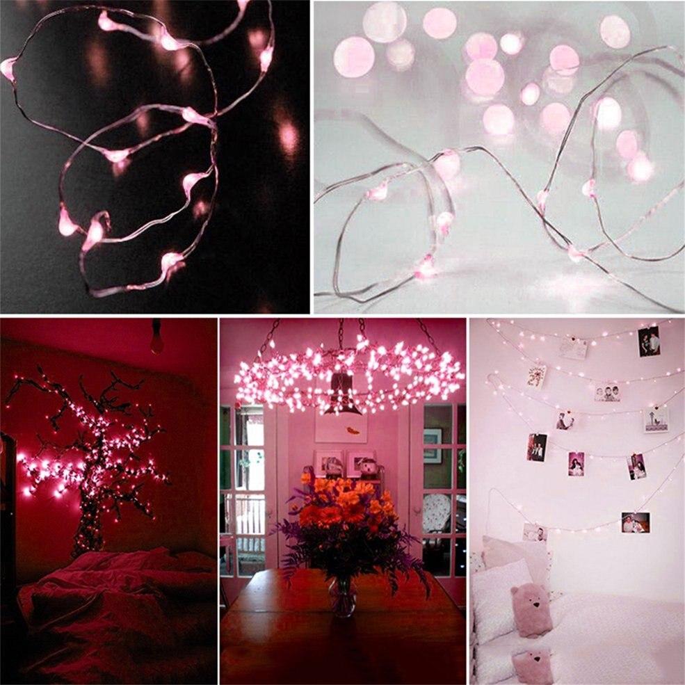 цена на 10pcs Pink Shine Led Light High Efficient 10M 100 LED 3AA Battery Silver Wire Decorative String Light