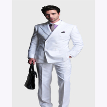 2017 Italy style good quality double breasted mens suit slim terno masculino white wedding dress suits for men (jacket+pants)
