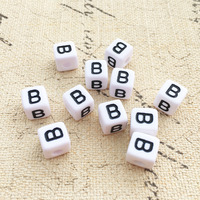 Wholesale Price 10 10MM Black Letter B Printing White Square Letter Beads Single Alphabet Jewelry Beads