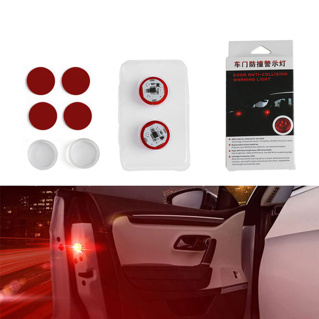 2X Car LED Opening Door Safety Warning Anti-collision Lights Flash Light Red Kit Wireless Alarm Lamp Anti-collid signal light 4