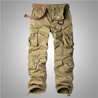 Male Fashion Military Army Camo Cargo Pants Plus Size Male Cotton Military Cargo Pants, 8 Pockets Casual Work Combat Trousers
