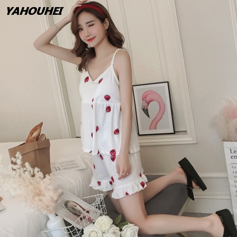 Strawberry Print Spaghetti Strap Top With Ruffles Hem Shorts   Pajama     Set   Ladies Short Sleeve Cute   Pajama     Set   Stretchy Nightwear