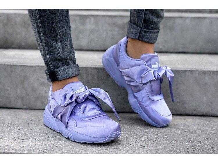 Puma Rihanna Fenty X Bow Trinomic Sneakers Big Ties Women s Badminton Shoes  Silk Lace-up 8e22ab9dc