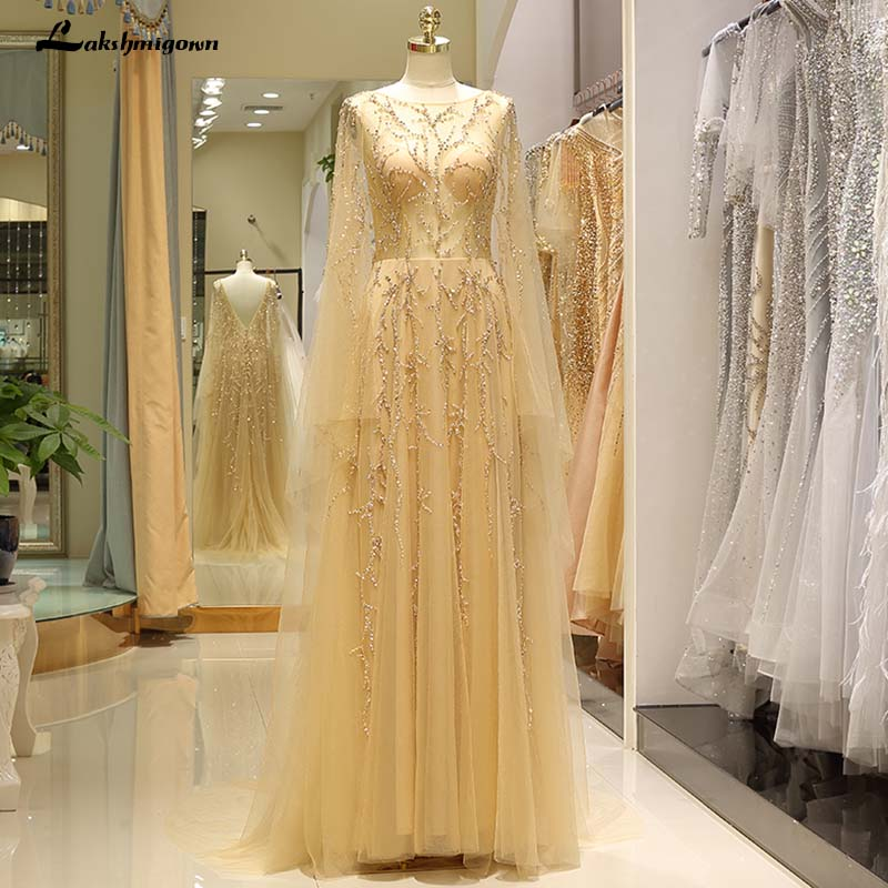 Golden Tulle A line Formal Evening Dress Luxury Whole Hand Made Sequin Beading Crystal Appliques Gowns lakshmigown