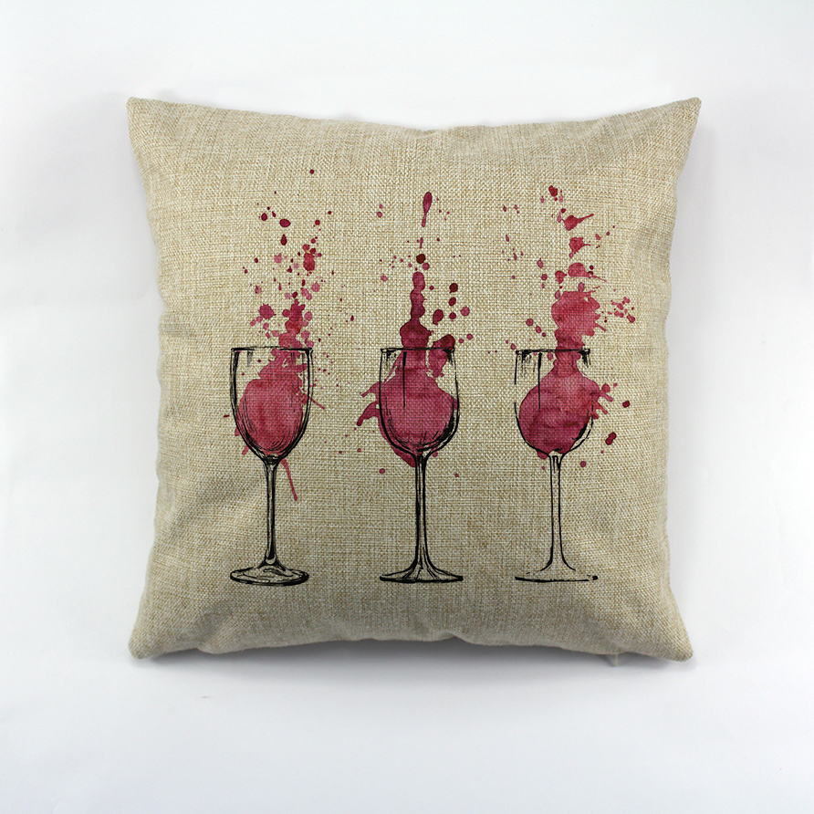 wine glasses print Pillow Case Decorative Cotton Cushion Cover For Sofa Throw Cushion Cover For Seat Chair in Cushion Cover from Home Garden